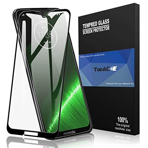 Moto G7 Screen Protector, TopACE Moto G7 Tempered Glass 9H Hardness [Case Friendly][Anti-Scratch][Bubble Free] Compatible for Motorola Moto G7 (Black)