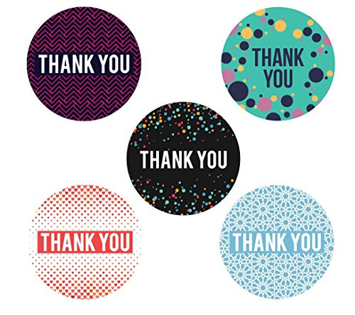 Thank You Stickers Roll |1.5 inches 500 Count Adhesive Round Labels per Roll | 5 Unique Designs | Assorted Color Circle Geometric Modern | Baby shower, Wedding, Graduation, Birthdays, Business