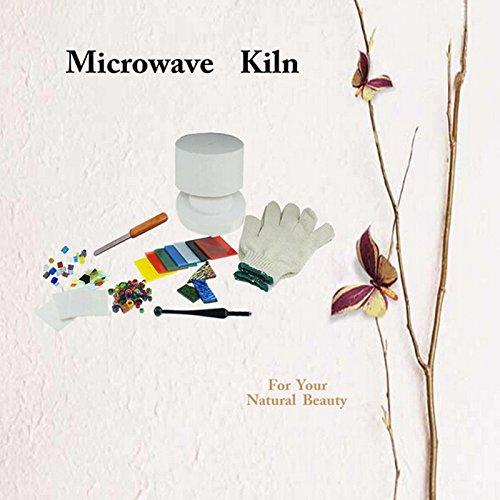 POGUT(POGUT) 10 Kinds/Set Small Microwave Kiln Kits Microwave Kiln Fusing Glass COE90 Dichroic Glass Millefiori Glass Bead