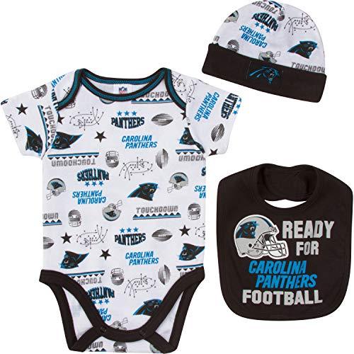 NFL Carolina Panthers Unisex-Baby Bodysuit, Bib & Cap Set, Black, 0-3 Months (Baby Boy Panthers)