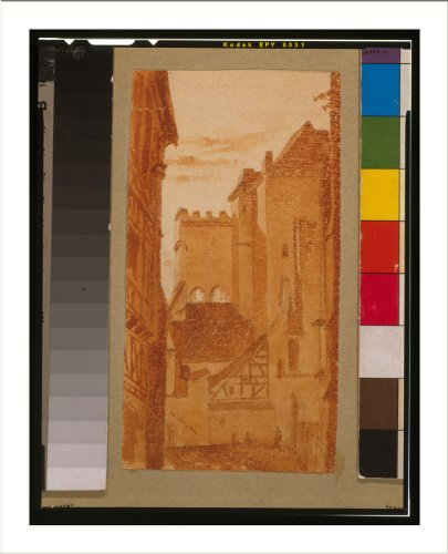 (Historic Print (L): Ruins of gate at the Chateau, Moulins, France / Gilbert.)
