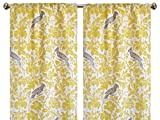 Pair of rod curtains 50'' wide panels yellow gray barber bird floral window treatment nursery cotton drapes 84 96 108