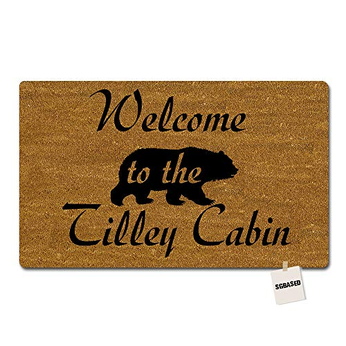 SGBASED Personalized Door Mat Custom Any Text/Name/Family Doormat Welcome to The Bear Cabin Mat Entrance Floor Decorative Rug Doormat Non-Woven Fabric (30 X 18 inches)