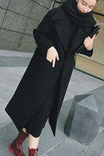 Outcoat Manteau Hiver Black Slim Les Poche Long Avec Revers Femmes Élégant Chaud 1aR1qwv8x
