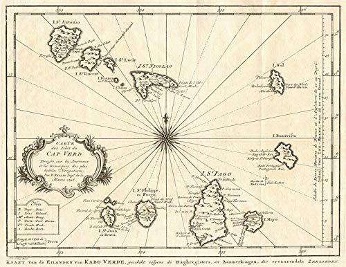 'Carte des Isles du Cap-Verd'. Cap Verde Islands. BELLIN/Schley - 1747 - Old map - Antique map - Vintage map - Printed maps of Atlantic Islands