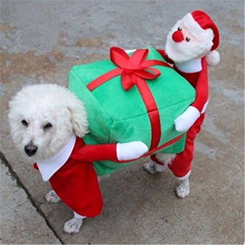 HouseHoldAV 2017 New Pet Dog Cat Supplies Christmas Halloween Puppy Santa Claus to Give Gifts Clothes Cat (Cat Customes)