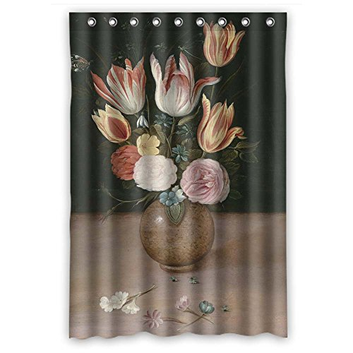 BUSIN Width X Height / 48 X 72 Inches / W H 120 By 180 Cm Polyester Famous Classic Art Painting Flowers Blossoms Bathroom Curtains Fabric Is Fit For Boys Bf Birthday Girls. Modern Design Cornflower Color Tray