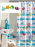Kids Shower Curtain Sea WITH Hooks - Somethings Fishy Shower Curtain With Hooks