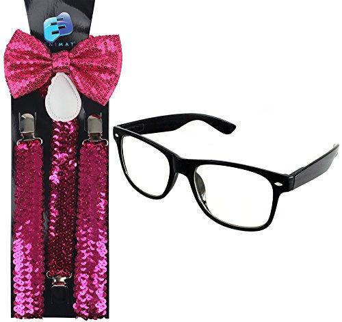 Enimay Suspender Bowtie Wayfarer Clear Glasses Nerd Costume Halloween Hot Pink Sequin -