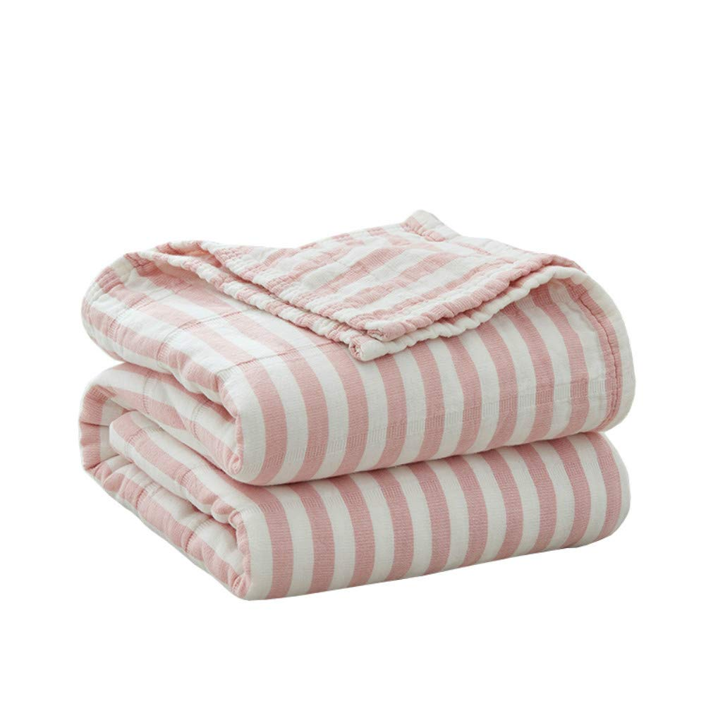 Cozzy Soft Comfortable Cotton Muslin Bed Throw Blanket for Adult Teens Lightweight Thin Quilt Summer Bedding Coverlet Pinstriped Pattern Twin 59''x79'' Pink and White