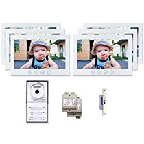 6 Tenant Apartment Building Intercom Multitenant Video Entry System Kit 2 Wire Keyless Access