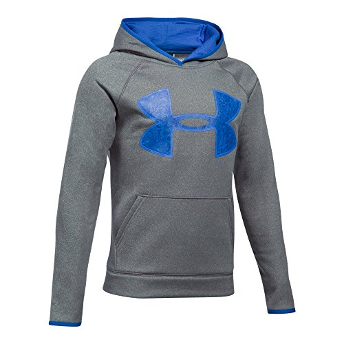 Under Armour Boys' Armour Fleece Big Logo Hoodie, Graphite/Ultra Blue, Youth Large
