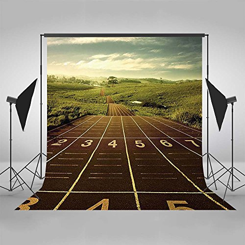 etic Track Field Backdrop Sport Stadium Photography Background 5x7ft Poly Cotton Sport Themed Personalized Portrait Backdrops (Field Gold Series Stadium)