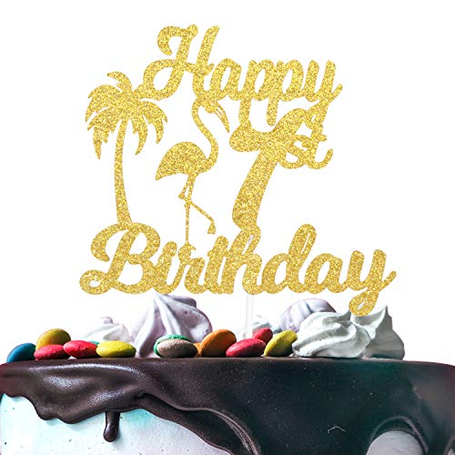 Happy 1st Birthaday Cake Topper - Hawaii Tropical Flamingo Gold Glitter Décor - Adorable Baby Shower Wild One - Kids First Birthday Palm Tree Cake Derocation]()