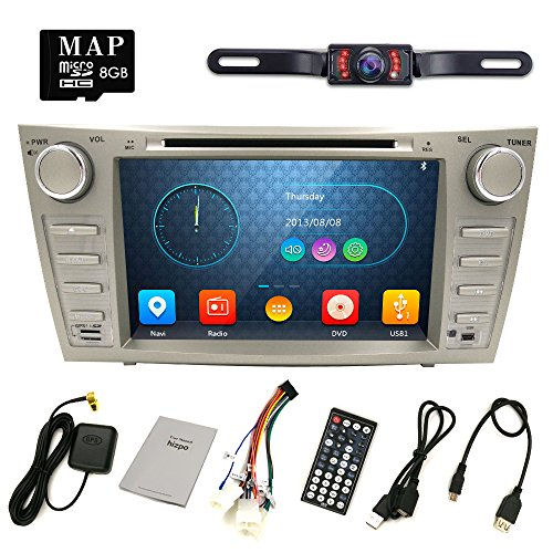 Hizpo Rear Camera Included For TOYOTA Camry 2007 2008 2009 2010 2011 8 inch Indash CAR DVD Player GPS Navigation Navi iPod Bluetooth HD Touchscreen Radio RDS FM+Free US GPS Map Card by HIZPO