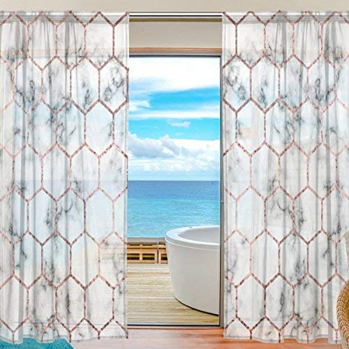 ALAZA Sheer Window Curtains Voile Panels Abstract Marble With Lattice for Living Room Bedroom Kids Room Curtains Polyester 55