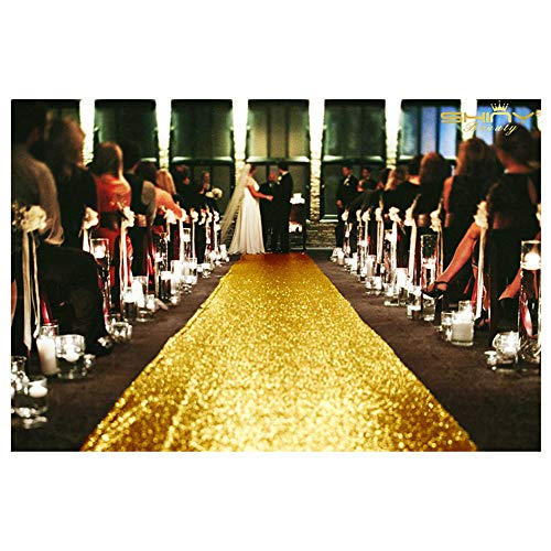 Wedding Aisle Runner Outdoor 4FTx10FT Gold Runner Glitter Sequin Runner ~0822S
