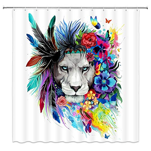 jingjiji Colorful Lion Shower Curtain Wild Animal Peacock Feather Flower Plant Painting Abstract Bathroom Decor Curtains Polyester Fabric Waterproof with Hook 70 X 70 Inch White