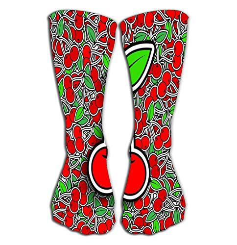 YILINGER Cherries Background Fresh Juicy Beautiful Delicious Fantasy Women's Knee High Socks Athletic Socks 19.7