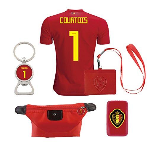EE bestort Belgium #1 Courtois 2018 Home Mens Soccer Jersey Color Red (Large)