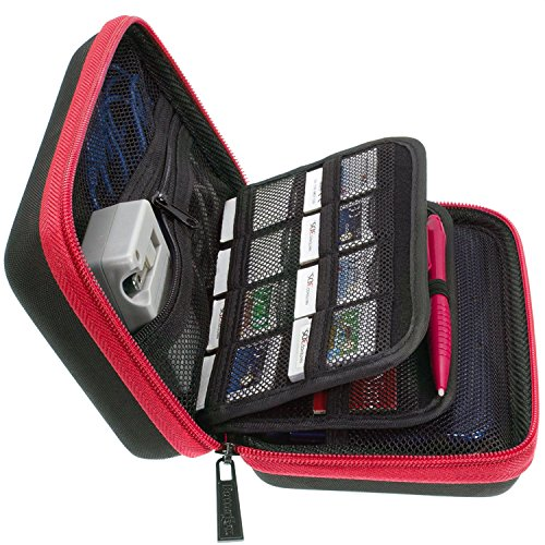 3DS XL, 2DS XL and 3DS Carrying Case with 24 Game Cartridge Holders and Large Stylus - Red/Black ()