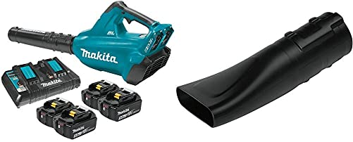 Makita XBU02PT1 18-Volt X2 36V LXT Lithium-Ion Brushless Cordless Blower Kit with 4 Batteries 5.0Ah with 197889-6 Flat End Nozzle