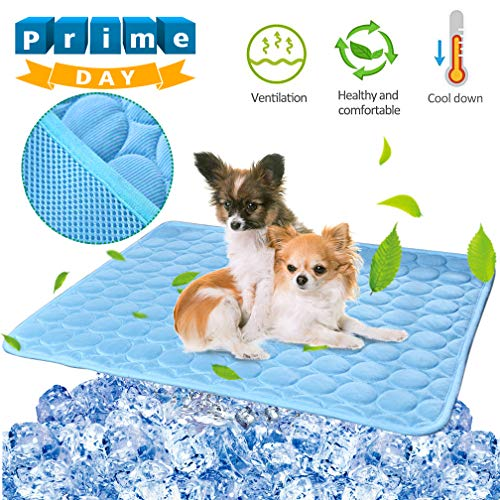 Pet Dog Cooling Mat Pad for Dogs Cats Ice Silk Mat Cooling Blanket Cushion for Kennel/Sofa/Bed/Floor/Car Seats Cooling Blue, 28