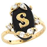 10k Real Yellow Gold Onyx Letter S Initial with CZ Accents Ring