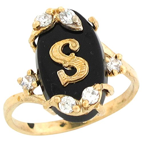10k Real Yellow Gold Onyx Letter S Initial with CZ Accents Ring by Jewelry Liquidation
