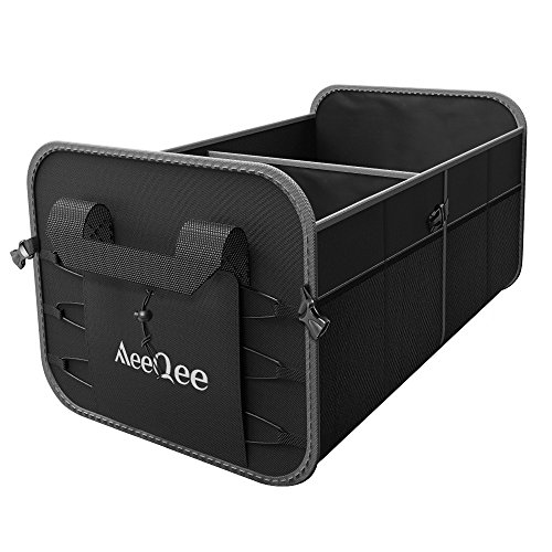 MeeQee Auto Organizers and Storage, Premium Car Trunk Organizer with Non-Slip Bottom and Handles, Collapsible, Heavy Duty Waterproof Cargo/Groceries Storage Box for Minivan Truck/Sedan