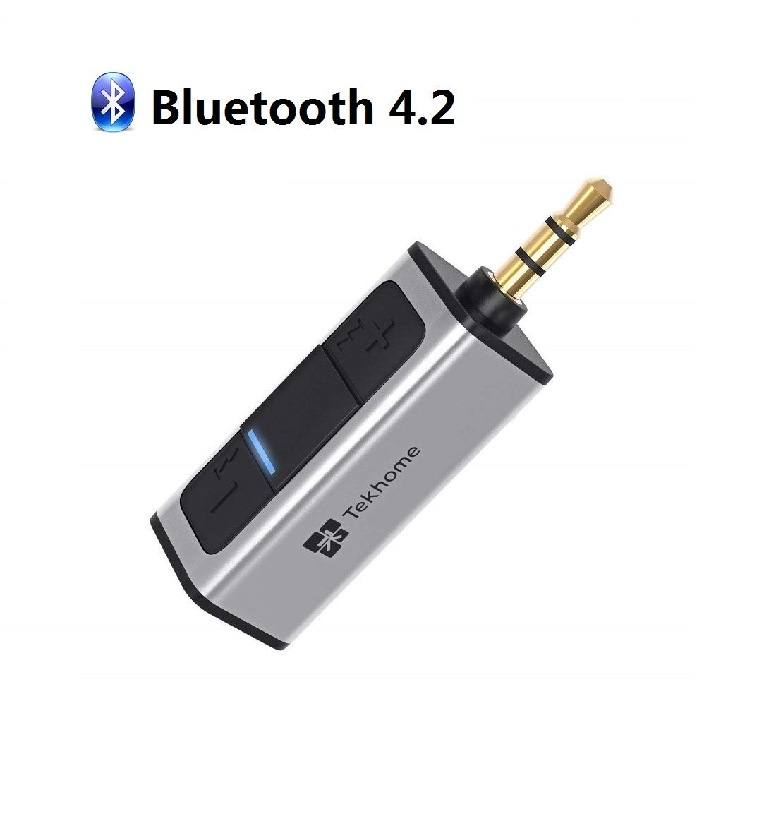 [Upgraded] 5.0 Bluetooth Aux Adapter Car, Bluetooth Headphone Adapter, Bluetooth Receiver Car, TekHome Bluetooth Audio Receiver for Music Streaming Home Sound System, Built-in Microphone, Silver.