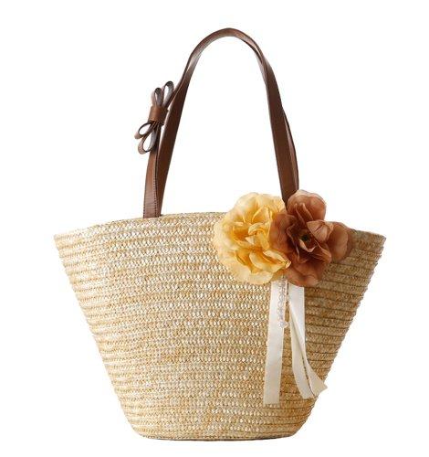 (Tonwhar Woven Straw Shoulder Bag Flower Straw Beach Tote Handbag (Natural))