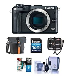 Canon EOS M6 24MP Mirrorless Digital Camera (Body Only) Black - Bundle With Holster Case, 16GB SDHC Card, Memory Wallet, Cleaning Kit, Software Package