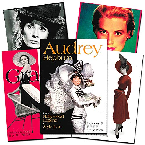 Audrey Hepburn & Grace Kelly Book Collection -- Set of 3 Deluxe Books with 18 Wall Art Poster Prints (Hollywood Style Icons Coffee Table Books Set)