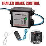 FieryRed Trailer Brakes Breakaway Kit - Engager LED Test Break Away System- Trailer Break Away Kit with Battery Charger and 44' Switch