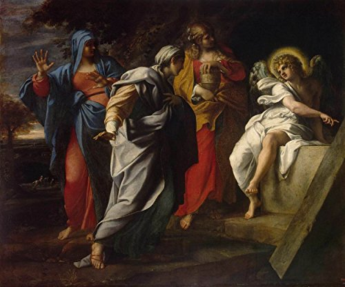 Cutler Miles Holy Women At The Tomb Of Christ by Annibale Carracci Hand Painted Oil on Canvas Reproduction Wall Art. 30x24 by Cutler Miles