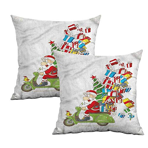 Pillow Santa Bulldogs (Khaki home Christmas Square Kids Pillowcase Santa on Motorbike Square Custom Pillowcase Cushion Cases Pillowcases for Sofa Bedroom Car W 24
