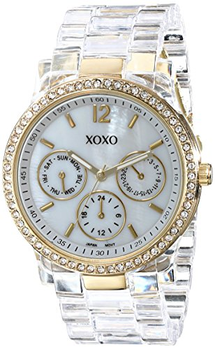 XOXO Womens XO5527 Clear Bracelet with Rhinestones on Gold Case Watch