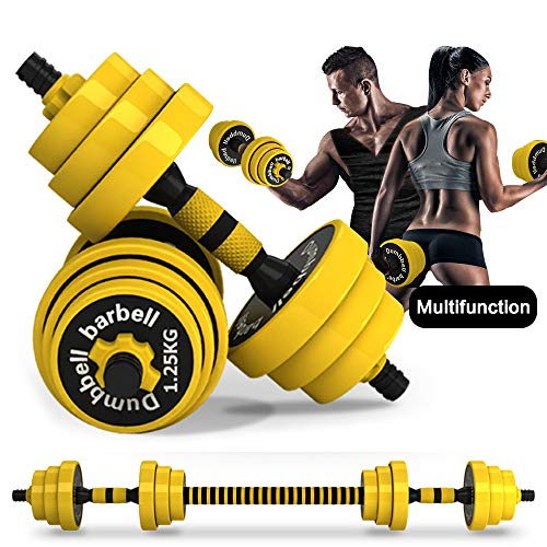 DDFE Adjustable Dumbbell Barbell LiftingSet 40.4lb New Dumbbell Barbell Set for Men,Women,Beginners,Home with Four 4lb.Four 2.8lb.Four 3.3lb.Weights, 2 Dumbbell Bars,1 Barbell Connecting Rod