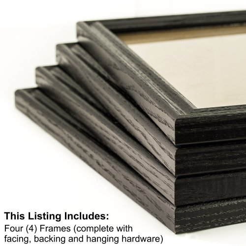 Craig Frames 200ASHBK 16 by 20-Inch Picture Frame 4-Piece Set, Real Wood, .76-Inch Wide, Black