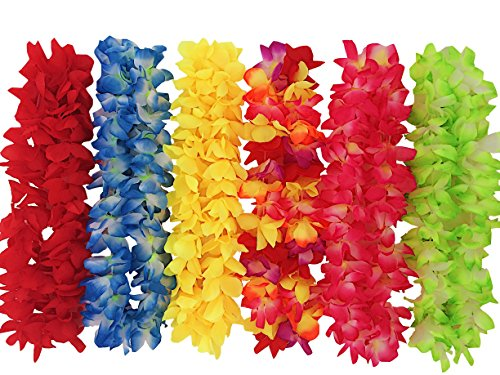 12 High Quality Hawaiian Leis That LOOK REAL - Polyester Multicolor Flower Necklaces For Luau Party Favors - Garland 12 (Aloha Leis)