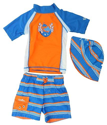UV SKINZ Boys Three Piece Swimsuit Set, Rash Guard