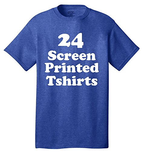 24 Custom Screen Printed T-shirts One Color Ink - Print Your Text, Art or Design - Custom Screen Printed T Shirts