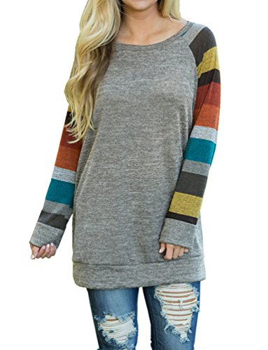 POSESHE Women's Long Sleeve Stitching T-Shirts Casual Striped Blouse Tops Grey Large