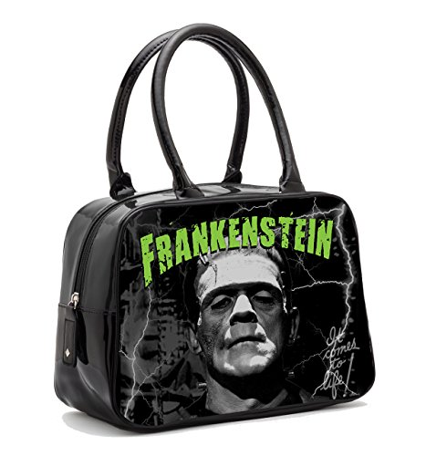 Rock Rebel Boris Karloff Classic 1931 Frankenstein Portrait Bowler Handbag