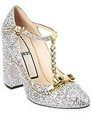 N21 Glitter Chain Mary Jane Pump, 38, Silver