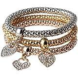 3 PCs Women New Vintage Love Crystal Cuff Bangle Cocktail Stretch Bracelet