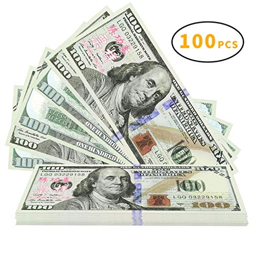 Winkeyes 100pcs Prop Money 100 Dollar Bills Play Money Realistic Copy Paper Money Full Print 2 Sided for Movie Game Kids School -