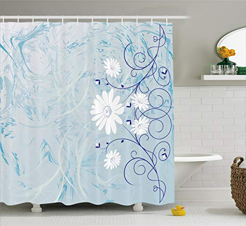 Ambesonne Floral Shower Curtain by, Swirled Blooming Daisy Flower Petals Essence Nature Beauty Chamomile Print, Fabric Bathroom Decor Set with Hooks, 75 Inches Long, White Baby Blue