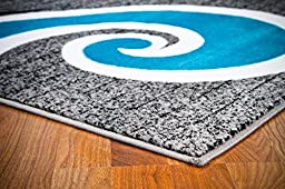 0327 Turquoise White Gray Black 5\'2x7\'2 Area Rug Abstract Carpet